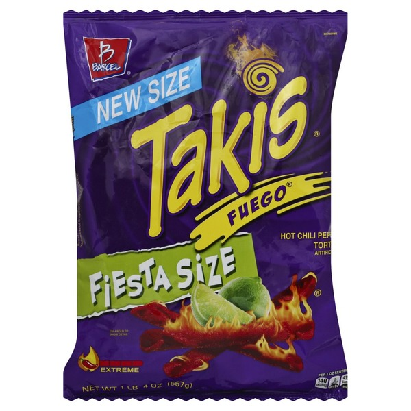 Takis Tortilla Chips, Hot Chili Pepper & Lime, Extreme, Fiesta Size