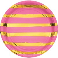 "Candy Pink and Gold Foil Striped 9"" Paper Plates - 8ct"