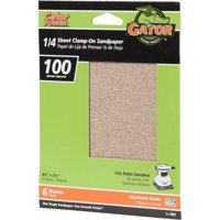 Gator Grit 4.5-Inch X 5.5-Inch 1/4 Sheet Clamp-On Sandpaper, 100 Grit 6-Pack