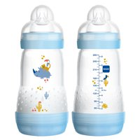 MAM Baby Bottles for Breastfed Babies, MAM Baby Bottles Anti-Colic, Boy, 9 Ounces, 2-Count