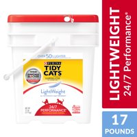 Purina Tidy Cats Light Weight, Low Dust, Clumping Cat Litter, LightWeight 24/7 Performance Multi Cat Litter, 17 lb. Pail