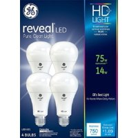 GE LED 14W Reveal General Purpose, A19 Medium Base, Dimmable, 4pk Light Bulbs