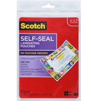 "Scotch Self-Sealing Photo Laminating Sheets, Gloss, 5"" x 7"", 5-Count"