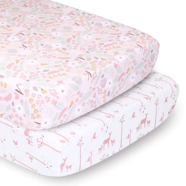 PS by The Peanutshell Sheets Pink Whimsy/Pink Woodland 2pk