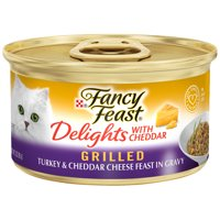 (24 pack) Purina Fancy Fest Delights Grilled Turkey & Cheddar Cheese Feast in Gravy Wet Cat Food, 3-oz. Can