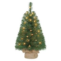 Holiday Time Pre-Lit 2' Noble Fir Green Artificial Christmas Tree, Clear Lights