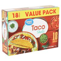 Great Value Taco Shells, Value Pack, 18 Count