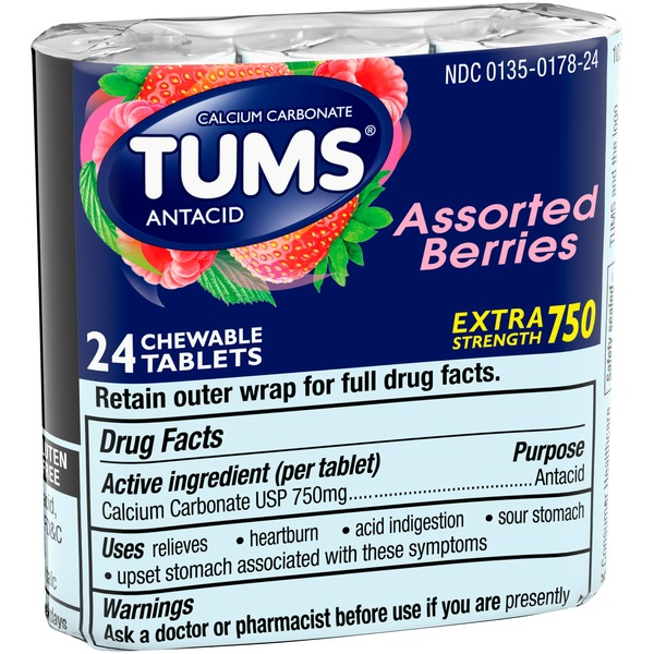 Tums Antacid, Extra Strength 750, Chewable Tablets, Assorted Berries, Wrapper