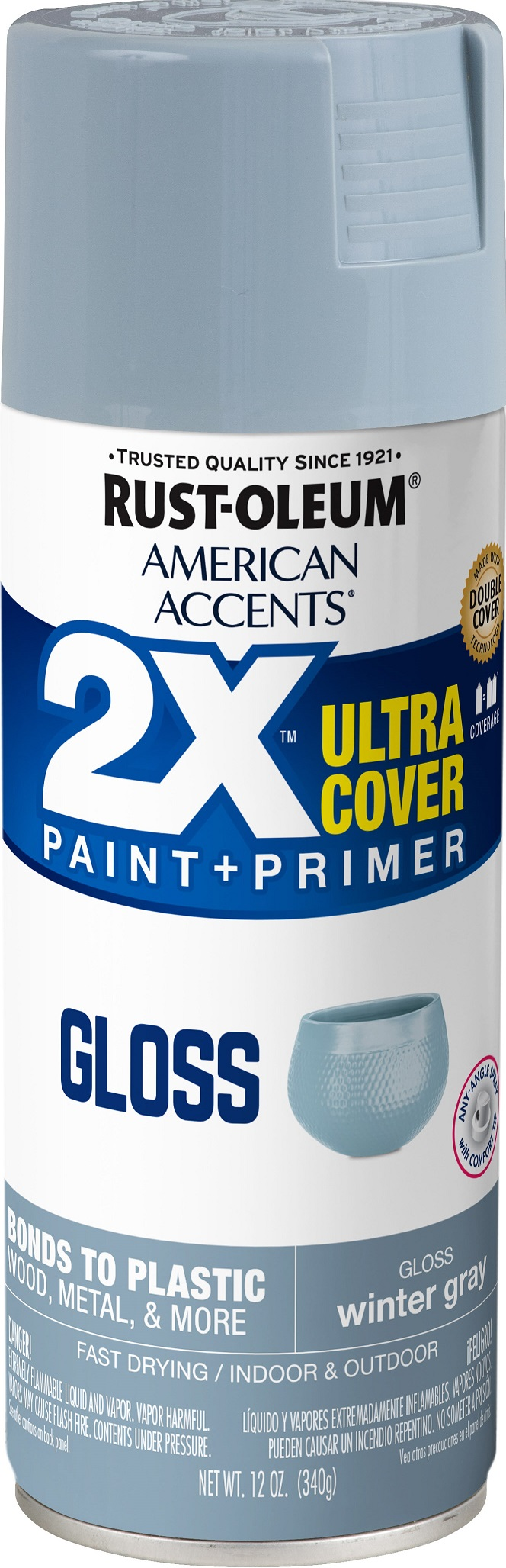 (3 Pack) Rust-Oleum American Accents Ultra Cover 2X Gloss Winter Gray Spray Paint and Primer in 1, 12 oz