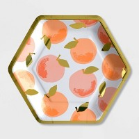 10ct Summer Hexagon Peach Snack Plate with Foil - Spritz™