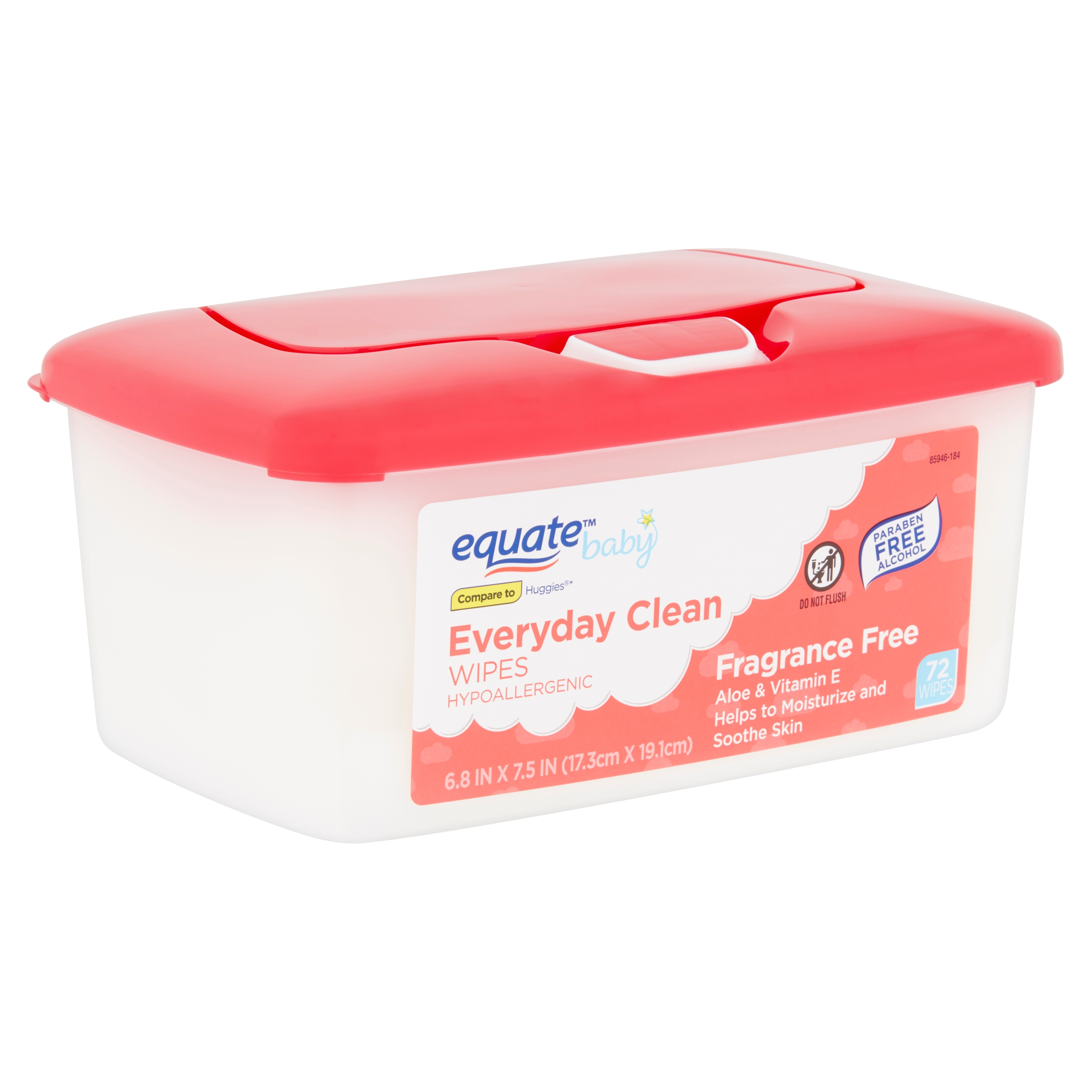Equate Baby Everyday Clean Fragrance Free Wipes, 72 count