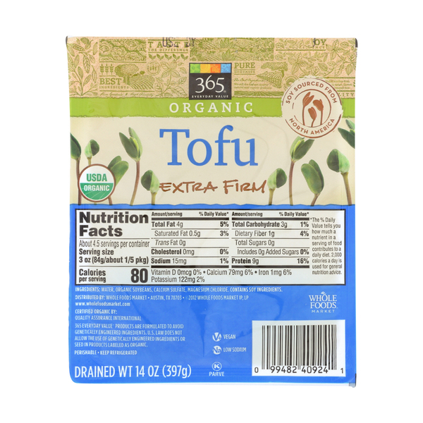 365 everyday value® Organic Extra Firm Tofu, 14 oz