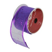 """Northlight Club Pack of 12 Shimmering Purple Wired Christmas Craft Ribbon Spools - 2.5"""" x 12 Yards"""
