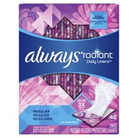 Always Radiant Daily Liners, 48 Count, Unscented, Wrapped, Regular