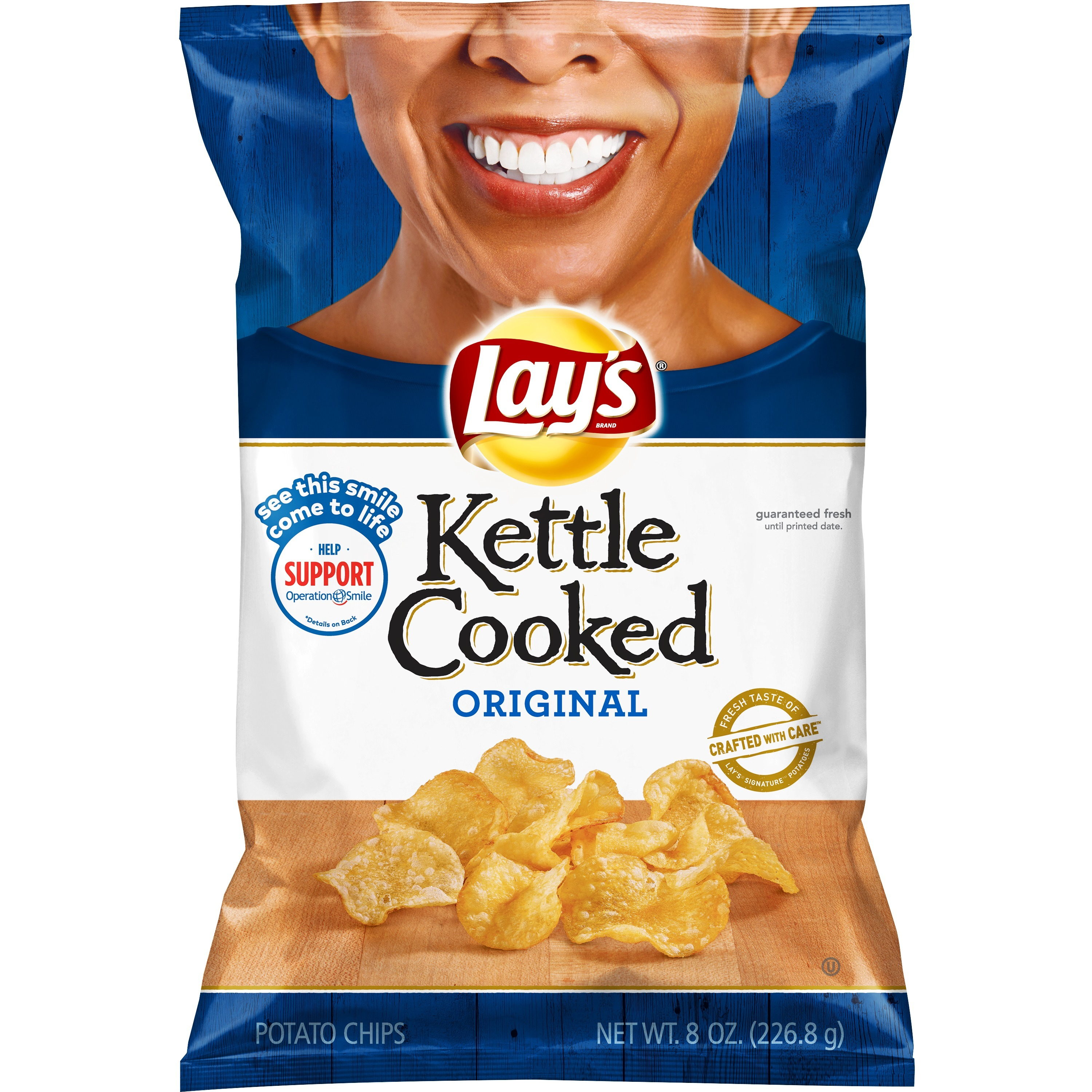 Lay's Kettle Cooked Potato Chips, Original, 8 oz Bag