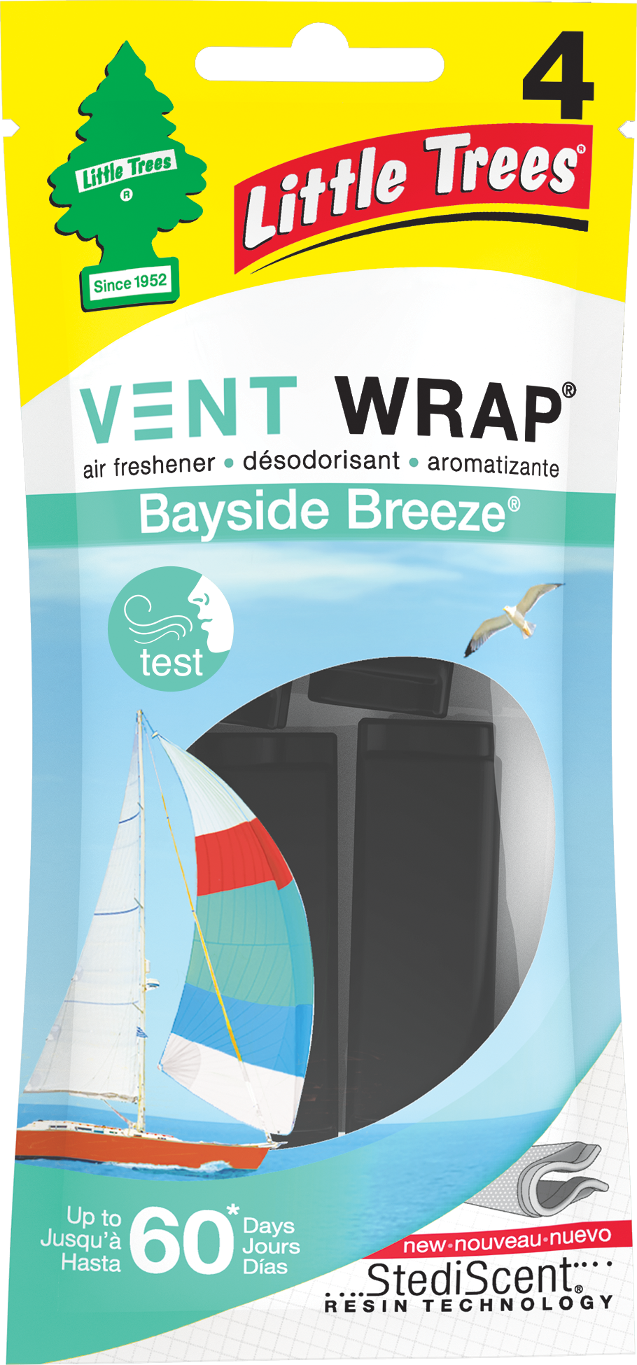 Little Trees Air Freshener Vent Wrap Bayside Breeze 4-Pack