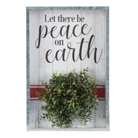 Holiday Time Let There Be Peace on Earth Hanging Shadowbox Sign Decoration, 12