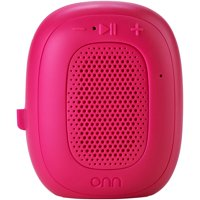 onn. Mini Bluetooth Speaker, Fuchsia Burst, Built-In Speakerphone & Hanging Strip - Fuchsia