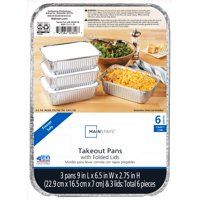 Mainstays Medium Takeout Pans with folded lids – 3 ct.