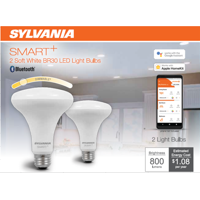 SYLVANIA SMART LED BR30 Light Bulb, 65 Watt, Dimmable, Soft White, 2Pk