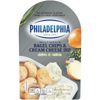 Philadelphia Multigrain Bagel Chips & Chive and Onion Cream Cheese Dip - 2.5oz