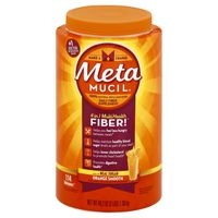 Metamucil Multi-Health Psyllium Fiber Supplement, Orange Powder with Real Sugar