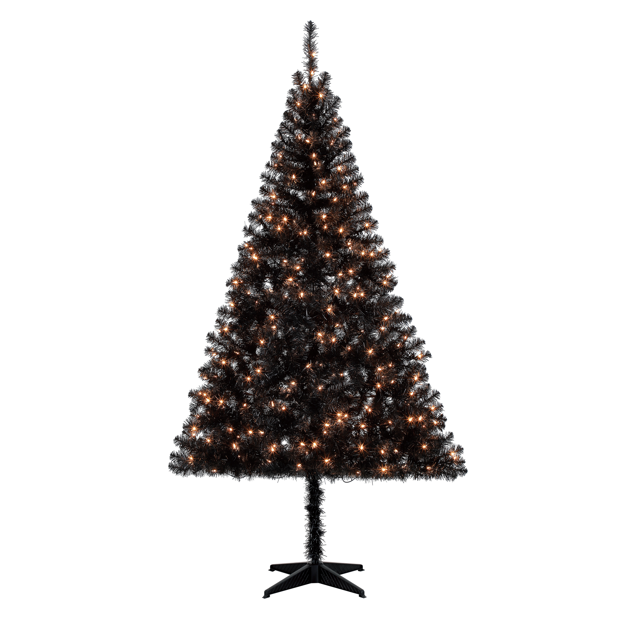 Holiday Time Pre-Lit 6.5' Madison Pine Black Artificial Christmas Tree, Clear-Lights