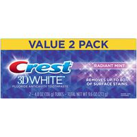 Crest 3D White Whitening Toothpaste, Radiant Mint, 4.8 oz, Pack of 2
