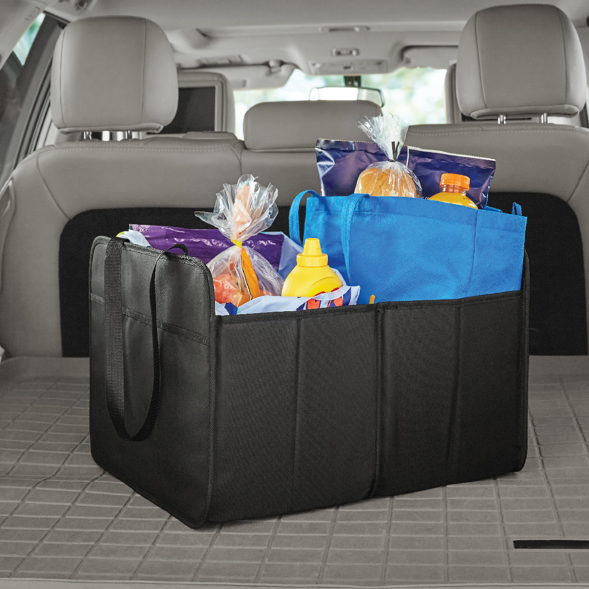 Auto Drive Black Hard-Sided Collapsible Trunk Organizer Product Size:18.5