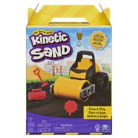 Kinetic Sand, Pave & Play Construction Set with Vehicle and 8oz Black Kinetic Sand, for Kids Aged 3 and up