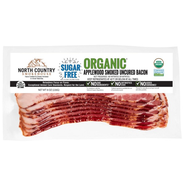North Country Smokehouse Uncured Bacon, Organic, Applewood Smoked