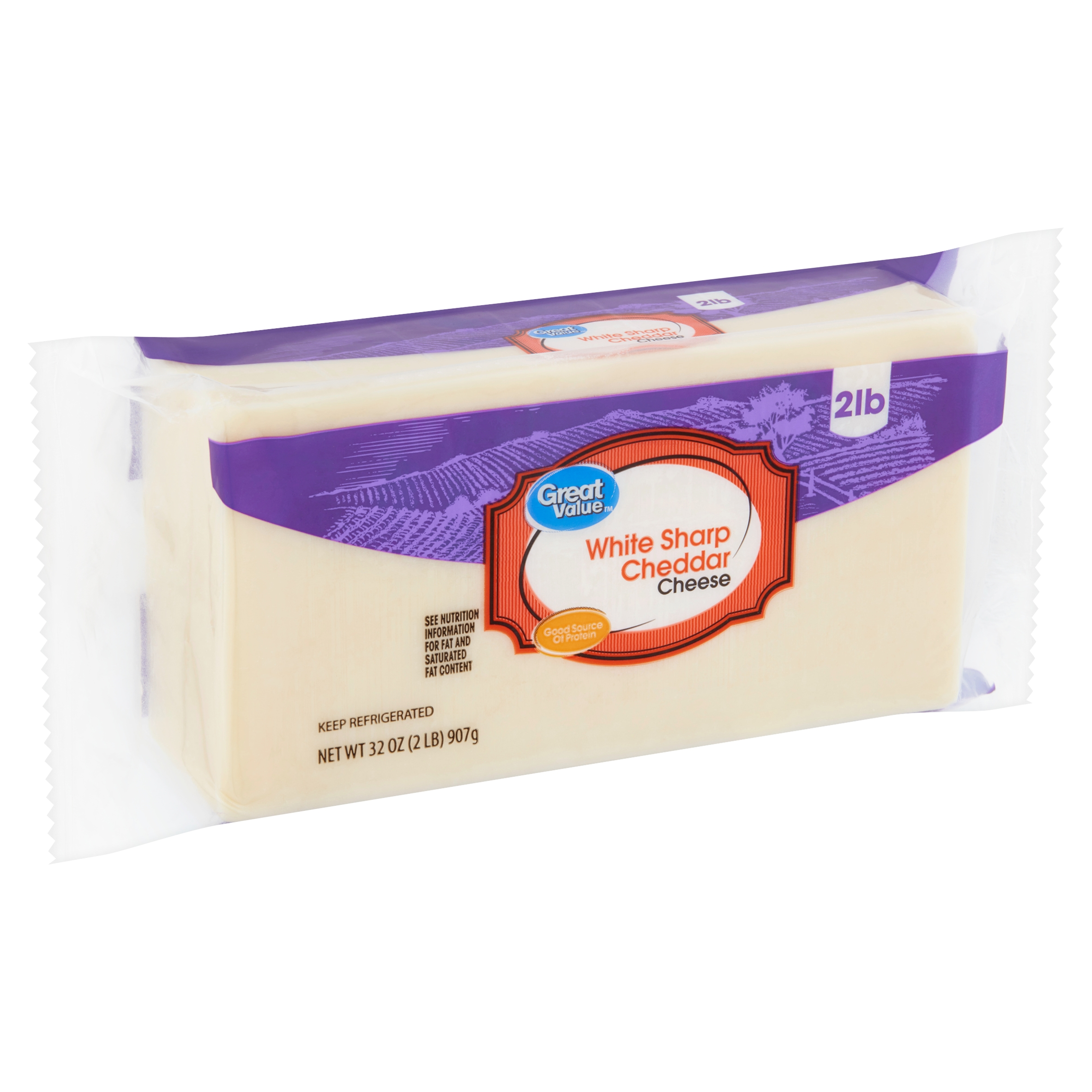 Great Value White Sharp Cheddar Cheese, 32 oz
