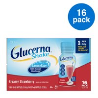 Glucerna, Diabetes Nutritional Shake, To Help Manage Blood Sugar, Creamy Strawberry, 8 fl oz (Pack of 16)