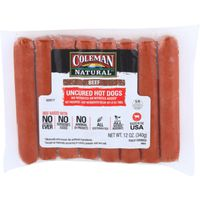 Coleman Beef Uncured Hot Dogs