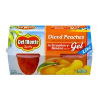 (4 Cups) Del Monte Diced Peaches in Strawberry-Banana Flavored Gel, 4.5 oz cups