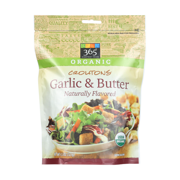 365 everyday value® Organic Garlic & Butter Croutons, 4.5 oz