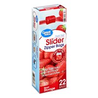 Great Value Slider Zipper Storage Bags, Quart, 22 Count