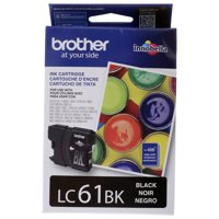 Brother Genuine Standard Yield Black Ink Cartridge, LC61BK, Replacement Black Ink, Page Yield Up To 450 Pages, LC61