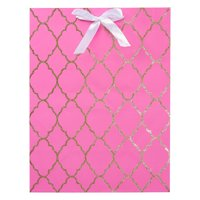 Large Gift Bag, Pink Trellis Pattern with Gold Glitter