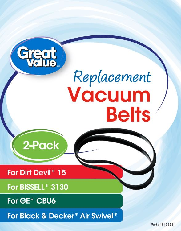 Great Value Replacement Vacuum Belts, For Dirt Devil 15, Bissell 3130, GE CBU6, and Black & Decker Air Swivel, 2 Count