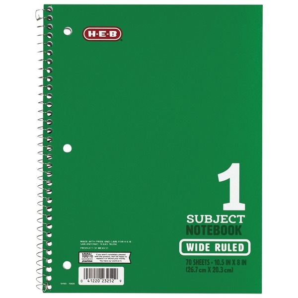 H-E-B Subject Green Wide-Ruled Notebook