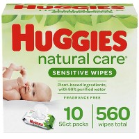 Huggies Natural Care Sensitive Baby Wipes, Unscented Flip-Top Packs - 10pk/560ct