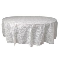 Round Plastic White Lace Print Table Cover, 84