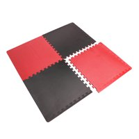 CAP High Density Reversible 4-Piece 13.7 Sq Ft Puzzle Exercise Mat, Black/Red