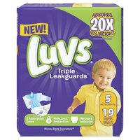 Luvs Triple Leakguards Extra Absorbent Diapers, Size 5, 19 Ct