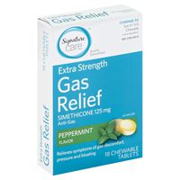 Signature Gas Relief, Extra Strength, 125 mg, Chewable Tablets, Peppermint Flavor
