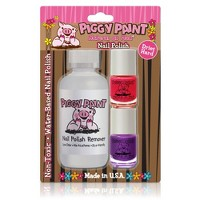 Piggy Paint Polish + Remover Pom Pom Party Girls Rule! - 3ct