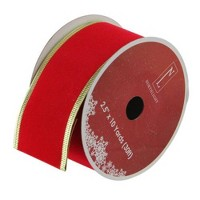 Northlight Solid Bright Red Gold Wired Christmas Craft Ribbon 2.5 x 10 Yards