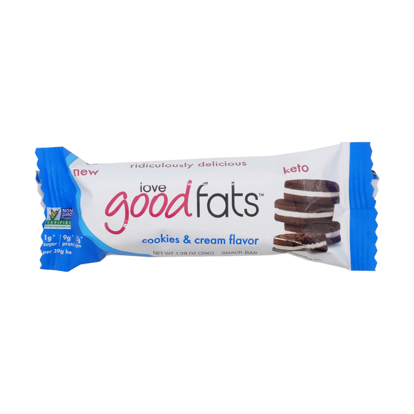 Love good fats Cookies And Cream Snack Bar, 1.38 oz