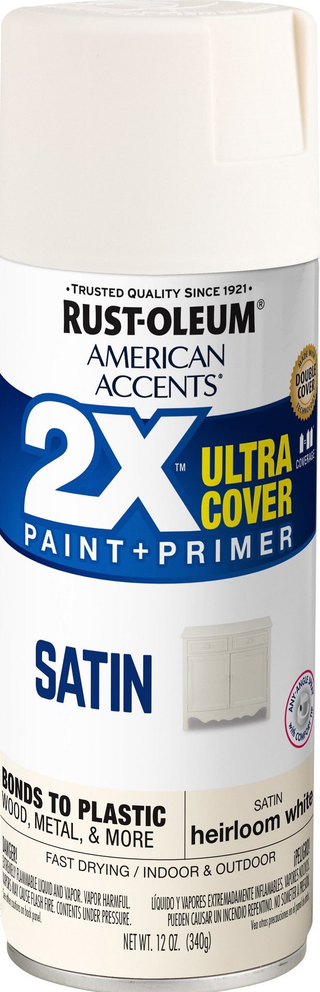 (3 Pack) Rust-Oleum American Accents Ultra Cover 2X Satin Heirloom White Spray Paint and Primer in 1, 12 oz